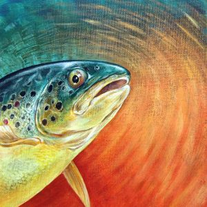 Brown trout painting - acrylic fish art original