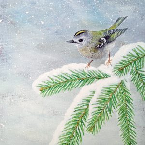 Goldcrest painting - acrylic bird art original