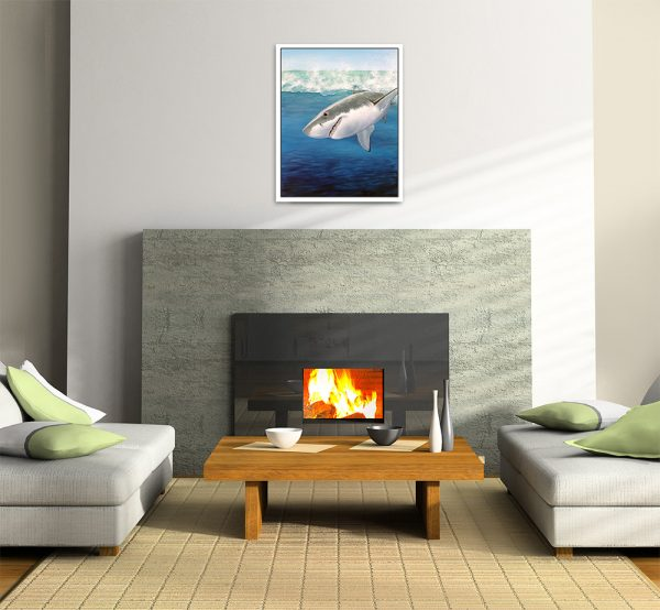 Original shark artwork hung in room