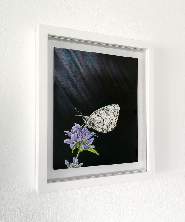 Marbled white butterfly painting in a white picture frame