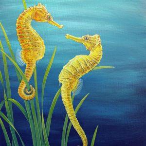 Seahorse painting - acrylic fish art original