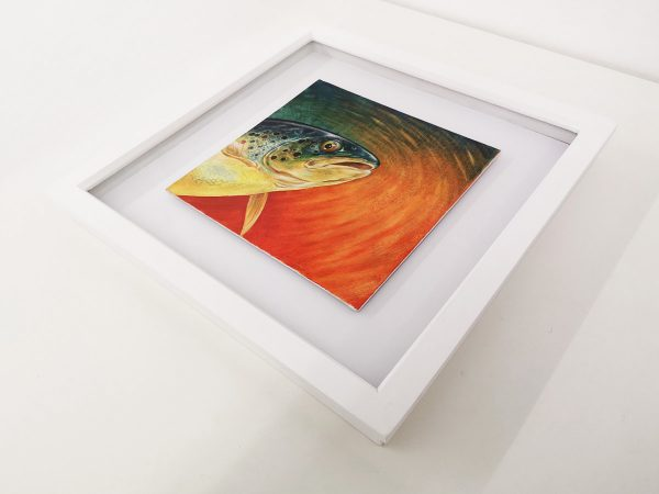 Brown trout painting in a white picture frame