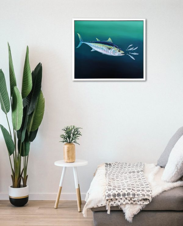 Framed painting of a Tuna fish hanging on the wall