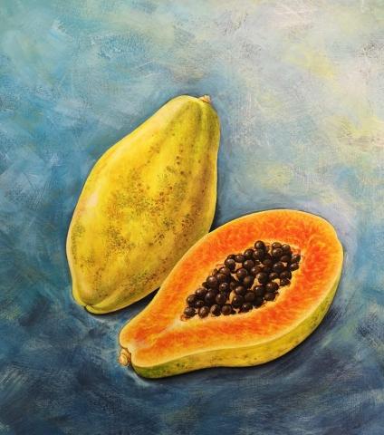 Original acrylci painting of a Papaya