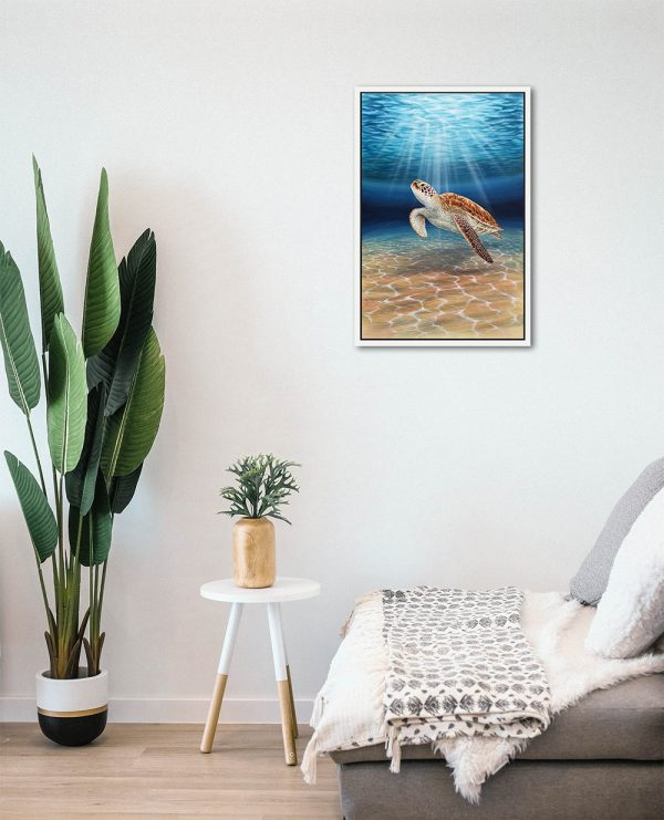 Framed Sea Turtle painting hanging in a room