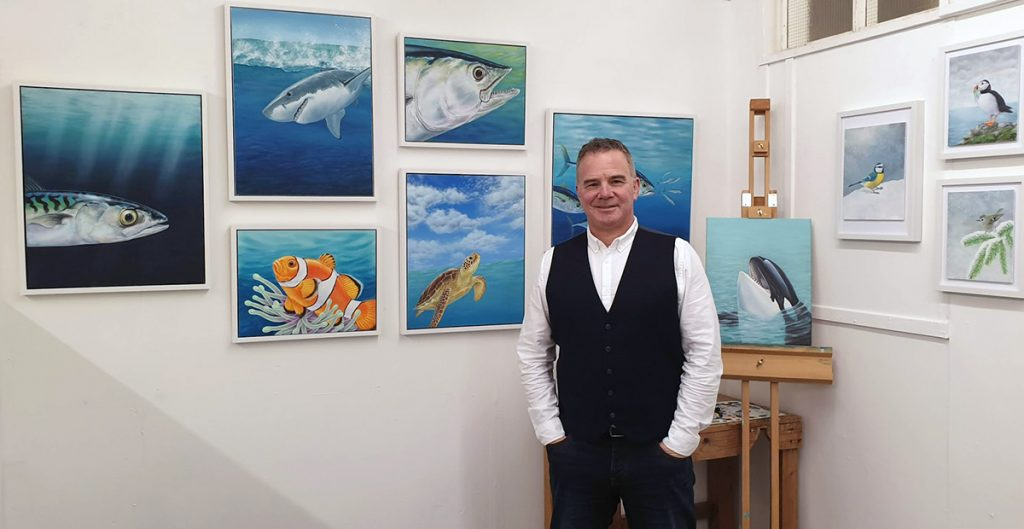 Craig Austin at his studio in Krowji, Redruth, Cornwall