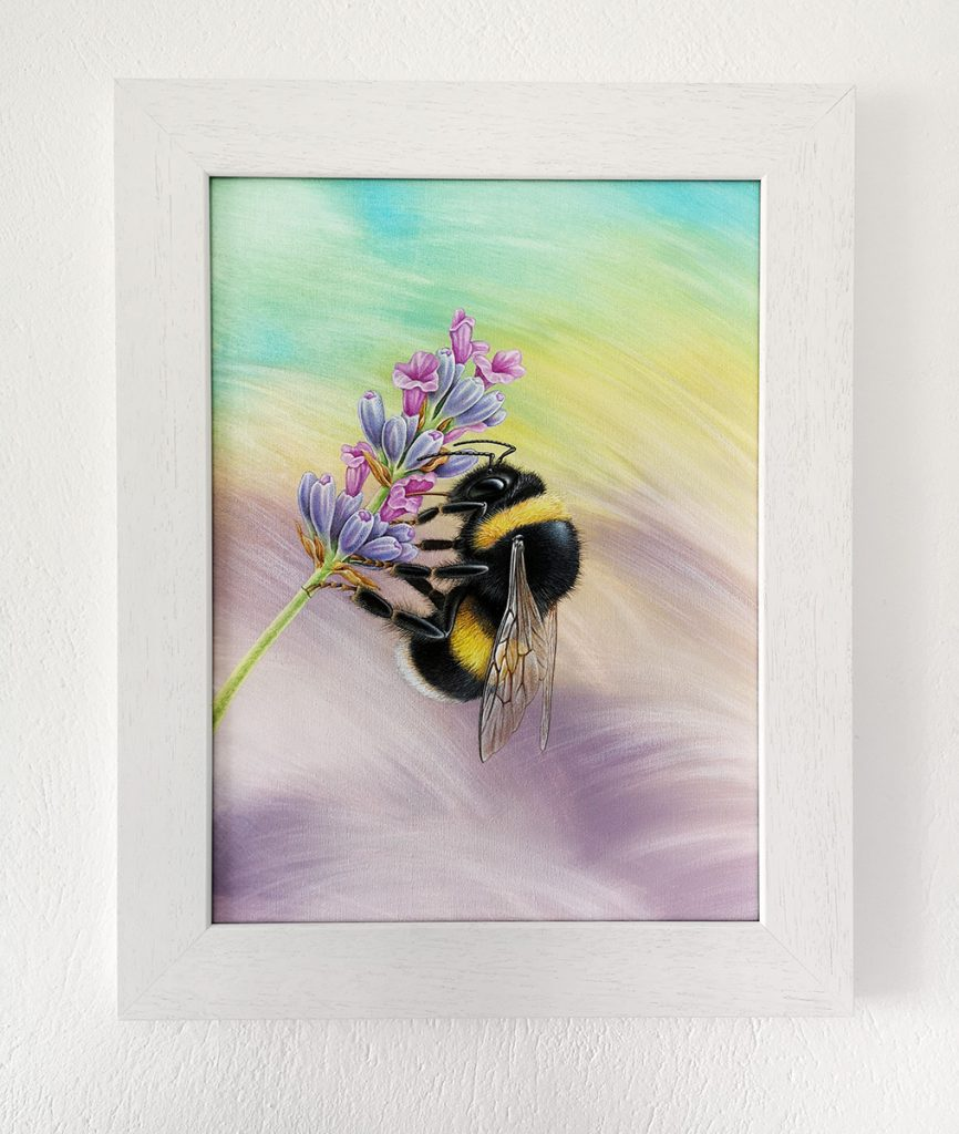 Bumblebee painting in a white picture frame