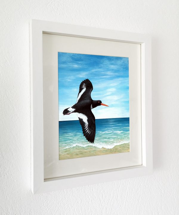 Oystercatcher painting in a white picture frame