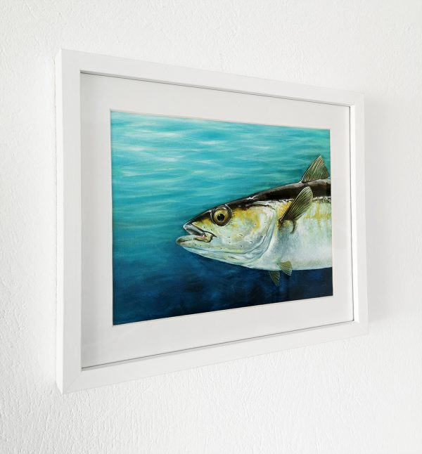 Pollock fish painting in a white picture frame