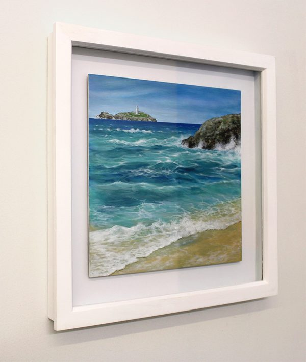 Framed painting of Godrevy Lighthouse