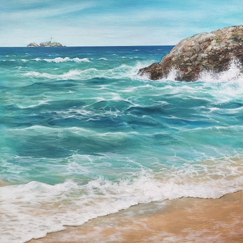 Orginal painting of Godrevy Lighthouse from Hayle beach