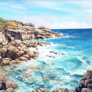 Painting of coastline at Rinsey Head, Cornwall