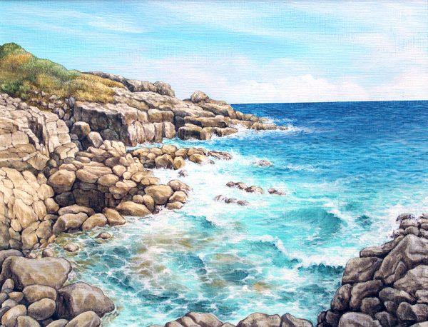 Painting of coastline at Rinsey Head, Cornwall