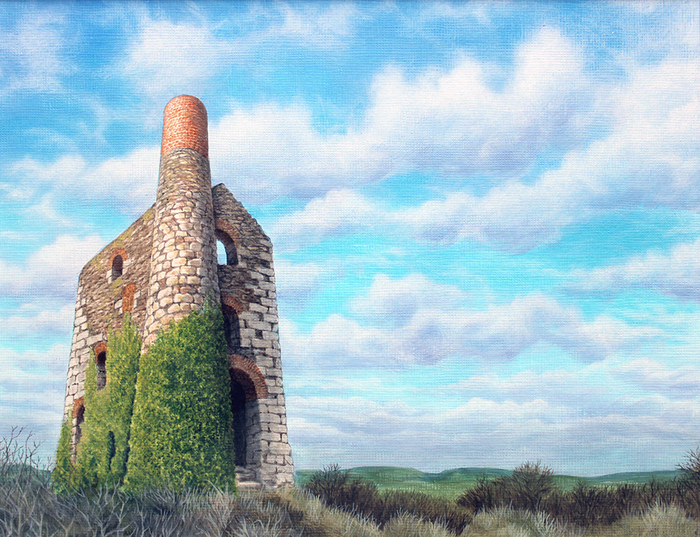 Original painting of Wheal Uny near Redruth, Cornwall