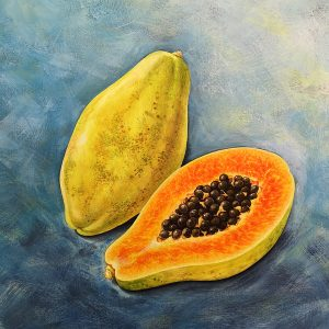 Acrylic painting of papaya fruit