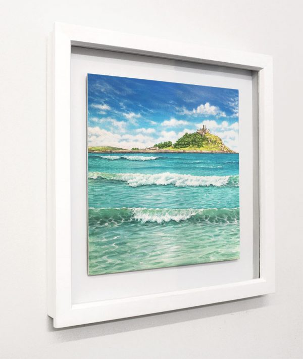 Framed painting of St Michael's Mount in Cornwall