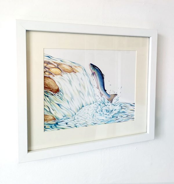 Framed painting of a leaping salmon