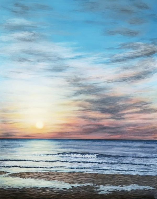 St Ives painting of Porthmeor Beach in the evening