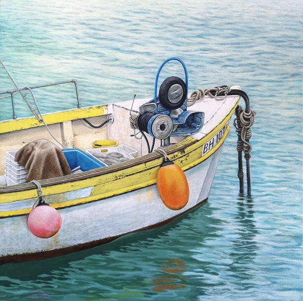 Original painting of a fishing boat at St Ivers, Cornwall