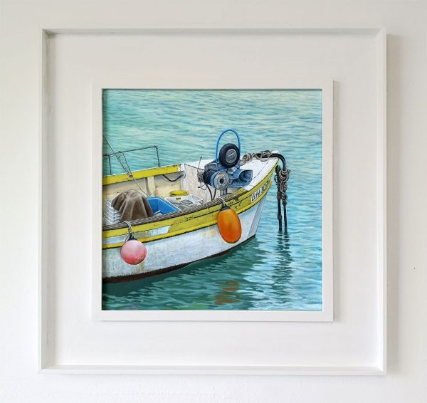 Framed painting of a fishing boat at St Ives, Cornwall