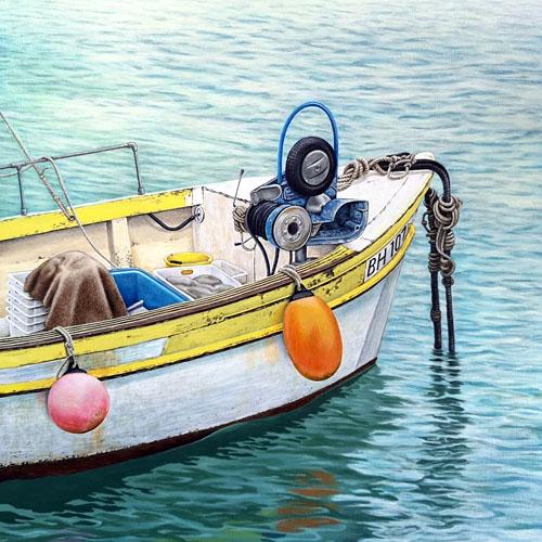 Painting of a fishing boat at St Ives, Cornwall