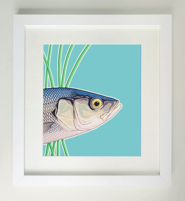 Framed painting of a sea bass