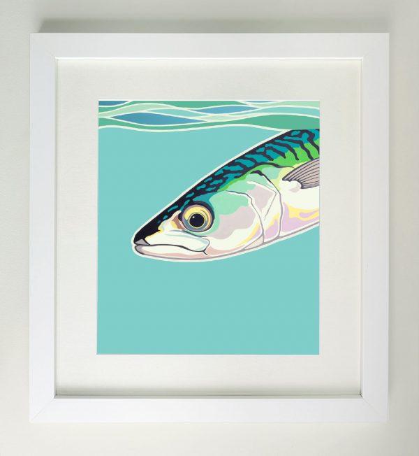 Framed painting of a makerel