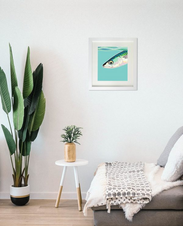 Painting of a mackerel hanging on the wall